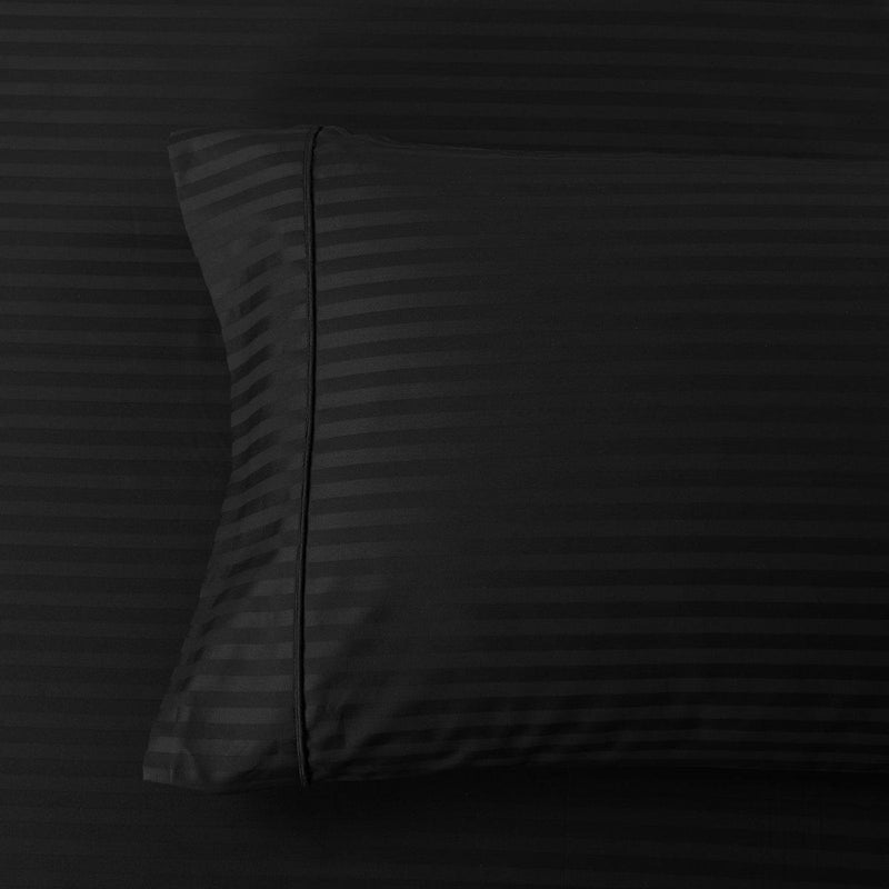 Damask Stripe 600 Thread Count Pillowcases (Pair)-Royal Tradition-Standard Pillowcases Pair-Black-Egyptian Linens