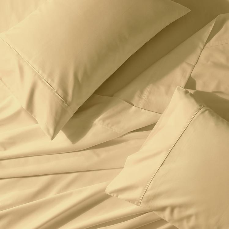 Crisp & Cool Percale Sheet Set - Extra Deep Fitted (22-Inches)-Abripedic-Queen-Gold-Egyptian Linens