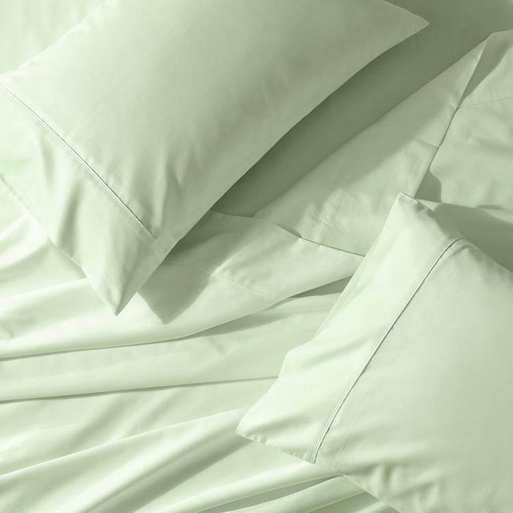 Crisp & Cool Percale Sheet Set - Extra Deep Fitted (22-Inches)-Abripedic-Queen-Celery-Egyptian Linens