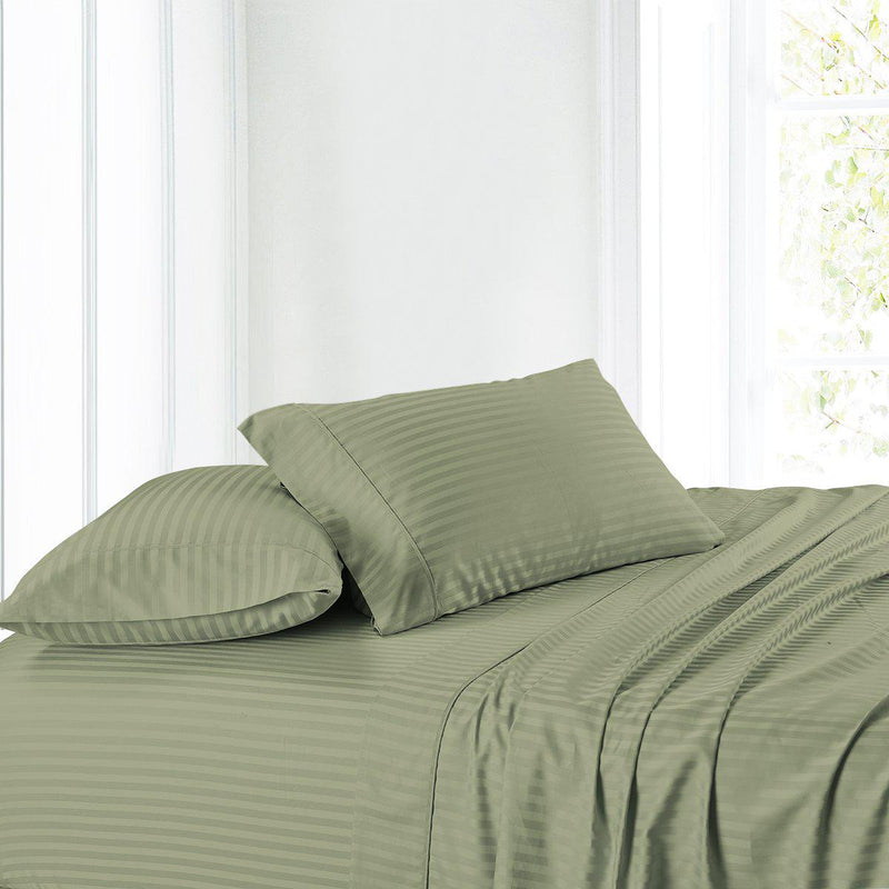 Attached Waterbed Sheet Set Stripe 300 Thread Count-Royal Tradition-Super Single Waterbed-Sage-Egyptian Linens