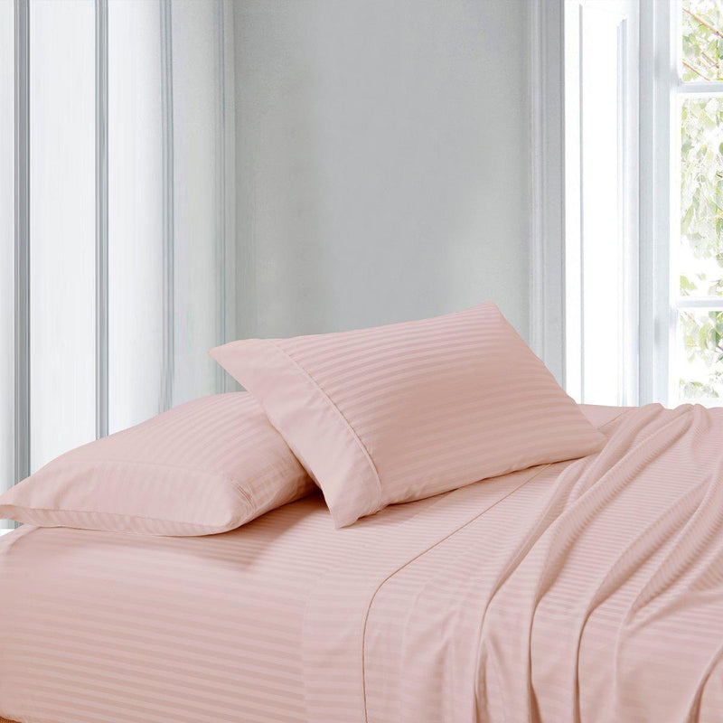 Attached Waterbed Sheet Set Stripe 300 Thread Count-Royal Tradition-Super Single Waterbed-Blush-Egyptian Linens
