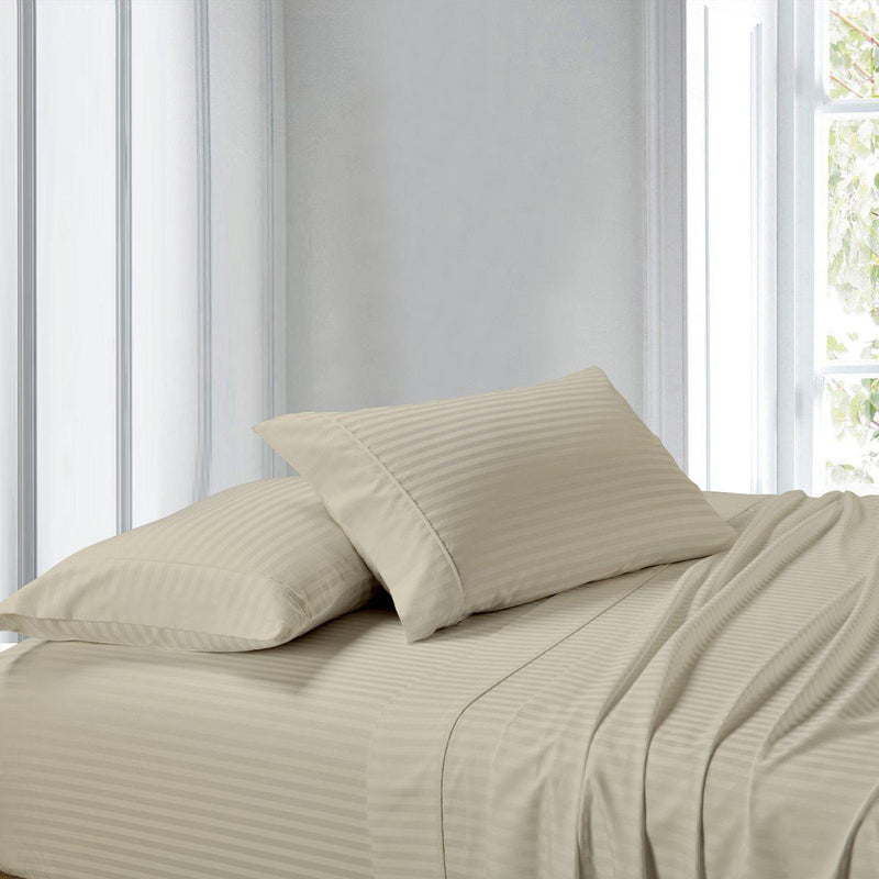 Attached Waterbed Sheet Set Stripe 300 Thread Count-Royal Tradition-Super Single Waterbed-Linen-Egyptian Linens