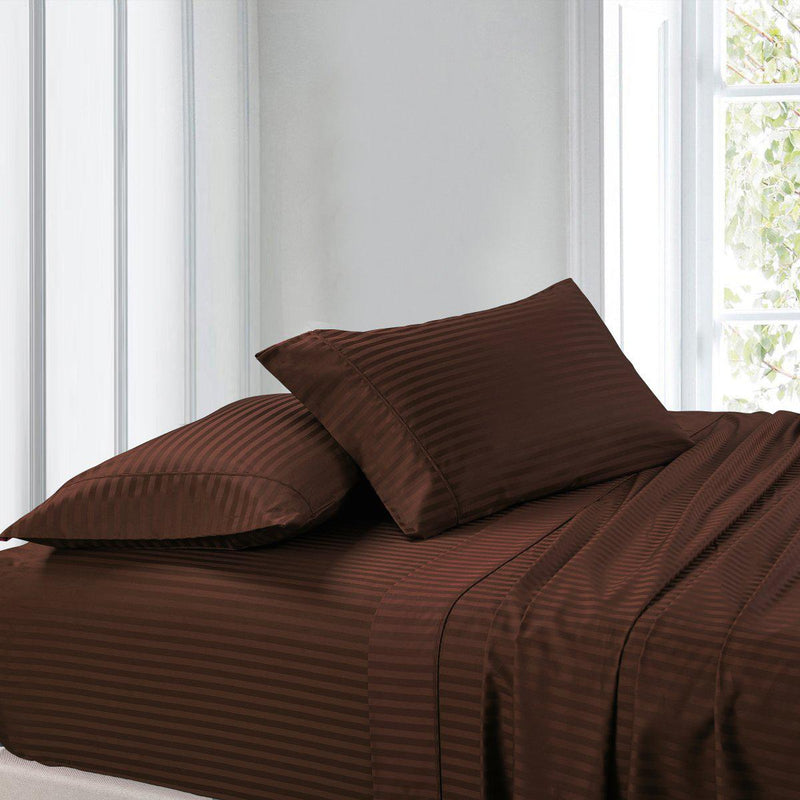 Attached Waterbed Sheet Set Stripe 300 Thread Count-Royal Tradition-Super Single Waterbed-Chocolate-Egyptian Linens