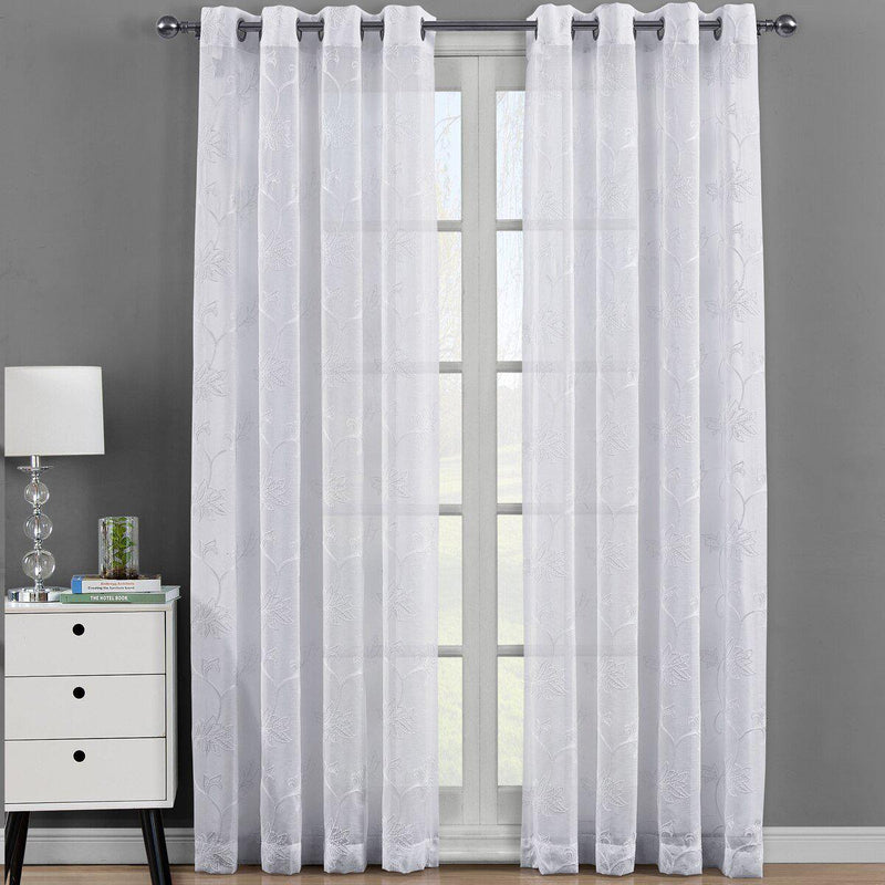 "Andora Embroidered Grommet Top Sheer Panel Curtain Pair (Set of 2 )-Royal Tradition-54 x 63"" Panel-White-Egyptian Linens"
