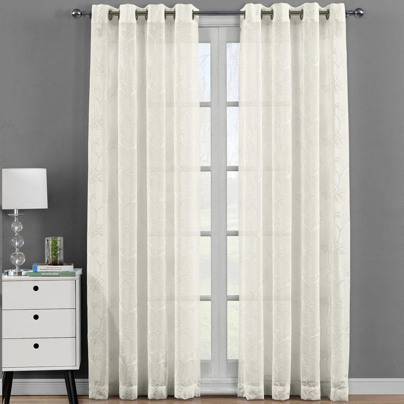 "Andora Embroidered Grommet Top Sheer Panel Curtain Pair (Set of 2 )-Royal Tradition-54 x 108"" Panel-Beige-Egyptian Linens"