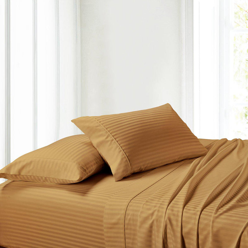Attached Waterbed Sheet Set Stripe 300 Thread Count-Royal Tradition-Super Single Waterbed-Bronze-Egyptian Linens