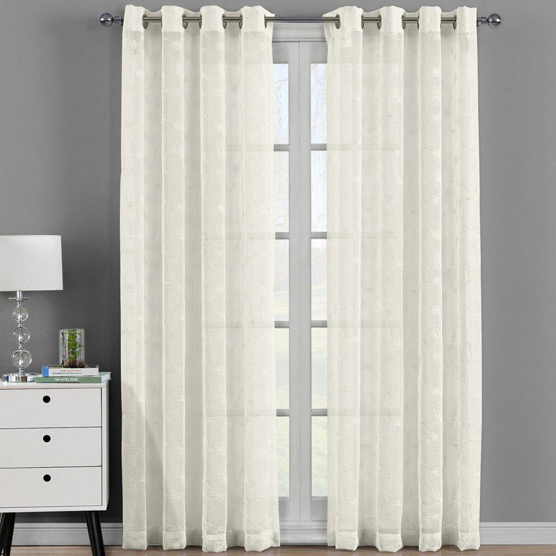 "Brook Embroidered Grommet Top Sheer Window Curtain Pair (Set of 2 )-Royal Tradition-54 x 63"" Panel-Beige-Egyptian Linens"
