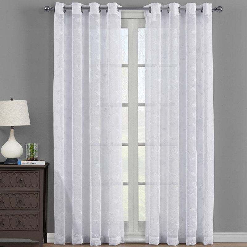 "Embroidered Melanie Grommet Top Sheer Curtain Pair (Set of 2 )-Royal Tradition-54 x 63"" Panel-White-Egyptian Linens"