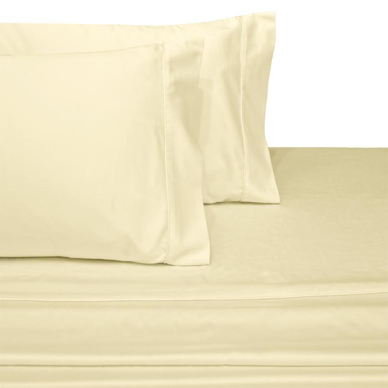 Attached Waterbed Sheet Set Solid 450 Thread Count-Royal Tradition-Super Single Waterbed-Ivory-Egyptian Linens