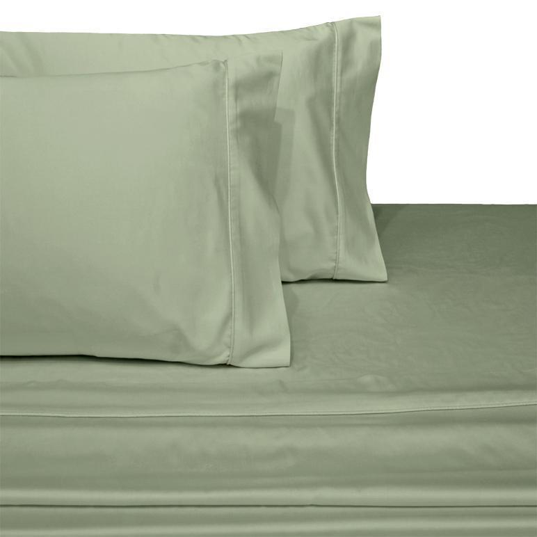Attached Waterbed Sheet Set Solid 450 Thread Count-Royal Tradition-Super Single Waterbed-Sage-Egyptian Linens