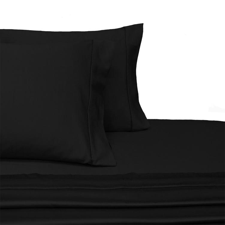 Attached Waterbed Sheet Set Solid 450 Thread Count-Royal Tradition-Queen Waterbed-Black-Egyptian Linens