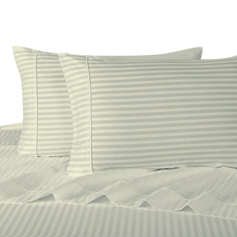 Sheet Set - Striped 600 Thread Count-Royal Tradition-Twin XL-Ivory-Egyptian Linens