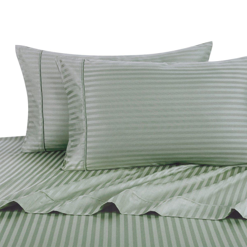 Sheet Set - Striped 600 Thread Count-Royal Tradition-Twin XL-Sage-Egyptian Linens