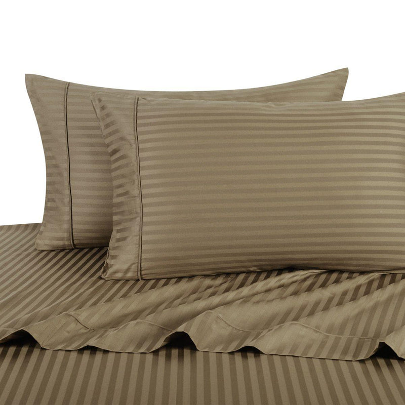 Sheet Set - Striped 600 Thread Count-Royal Tradition-Twin XL-Taupe-Egyptian Linens