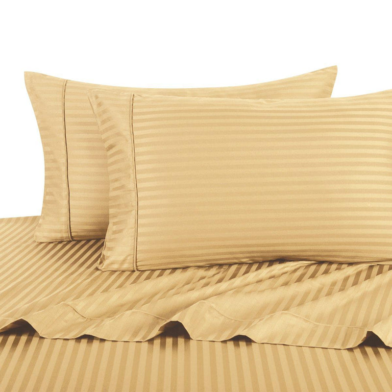Sheet Set - Striped 600 Thread Count-Royal Tradition-Twin XL-Gold-Egyptian Linens