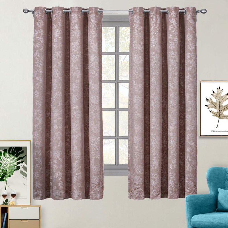 "100% Blackout Curtain Panels Fannie - Woven Jacquard Triple Pass Thermal Insulated (Set of 2 Panels)-Royal Tradition-54 x 63"" Panel-Cappuccino-Egyptian Linens"