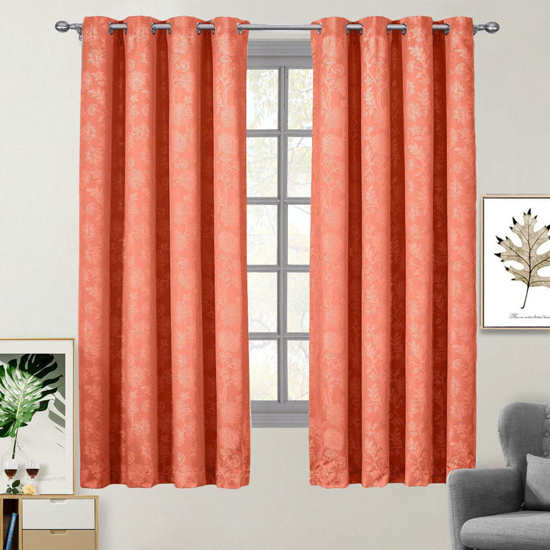 "100% Blackout Curtain Panels Fannie - Woven Jacquard Triple Pass Thermal Insulated (Set of 2 Panels)-Royal Tradition-54 x 63"" Panel-Coral-Egyptian Linens"