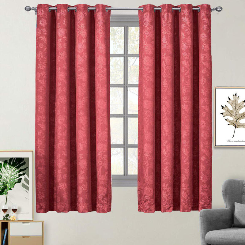 "100% Blackout Curtain Panels Fannie - Woven Jacquard Triple Pass Thermal Insulated (Set of 2 Panels)-Royal Tradition-54 x 63"" Panel-Burgundy Red-Egyptian Linens"