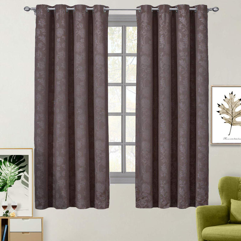 "100% Blackout Curtain Panels Fannie - Woven Jacquard Triple Pass Thermal Insulated (Set of 2 Panels)-Royal Tradition-54 x 63"" Panel-Dark Brown-Egyptian Linens"