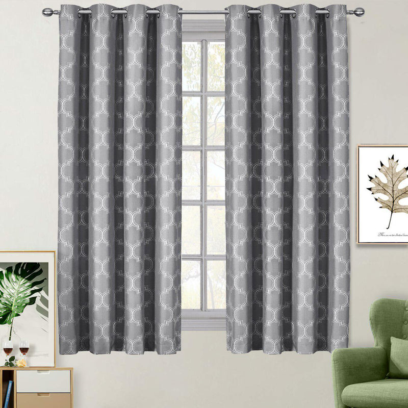 "100% Blackout Curtain Panels Alana - Woven Jacquard Triple Pass Thermal Insulated (Set of 2 Panels)-Royal Tradition-54 x 63"" Pair-Gray-Egyptian Linens"