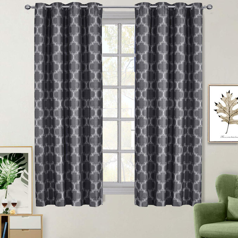 "100% Blackout Curtain Panels Alana - Woven Jacquard Triple Pass Thermal Insulated (Set of 2 Panels)-Royal Tradition-54 x 63"" Pair-Black Shadow-Egyptian Linens"
