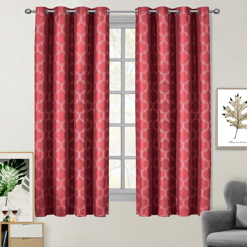 "100% Blackout Curtain Panels Alana - Woven Jacquard Triple Pass Thermal Insulated (Set of 2 Panels)-Royal Tradition-54 x 63"" Pair-Claret Red-Egyptian Linens"