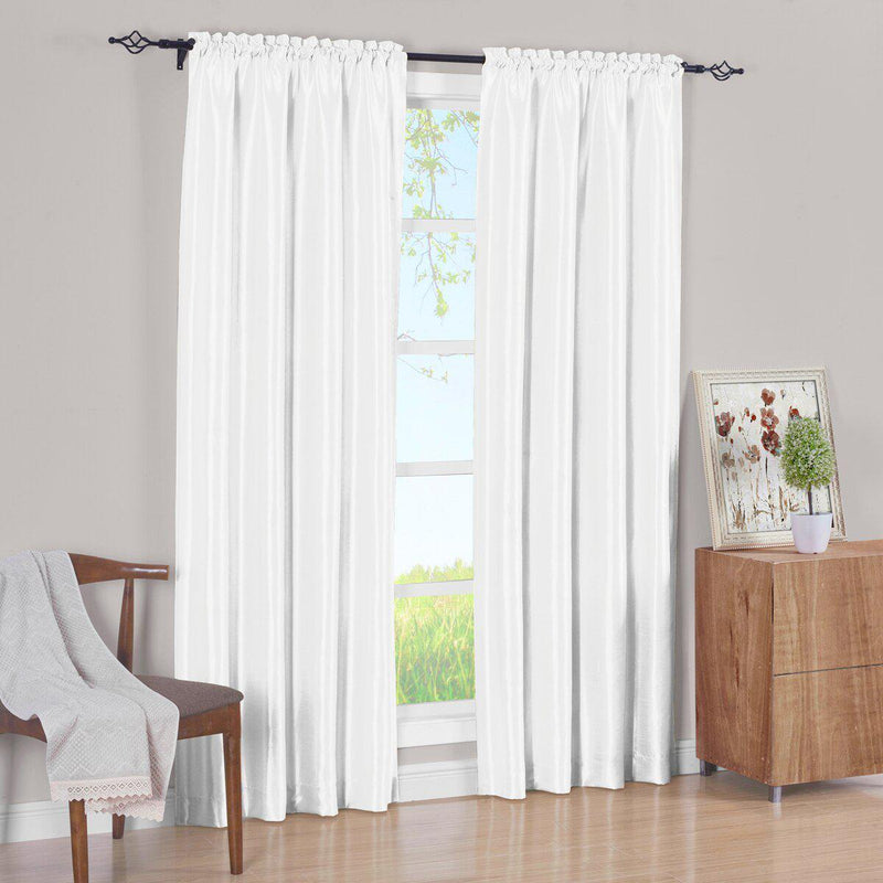 Pair Curtain Panels Soho Faux Silk (Set of 2)-Royal Tradition-63 Inch Long-White-Egyptian Linens