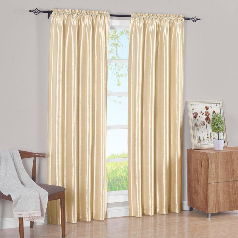 Pair Curtain Panels Soho Faux Silk (Set of 2)-Royal Tradition-63 Inch Long-Ivory-Egyptian Linens
