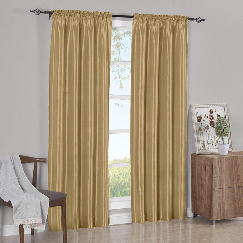 Pair Curtain Panels Soho Faux Silk (Set of 2)-Royal Tradition-63 Inch Long-Gold-Egyptian Linens