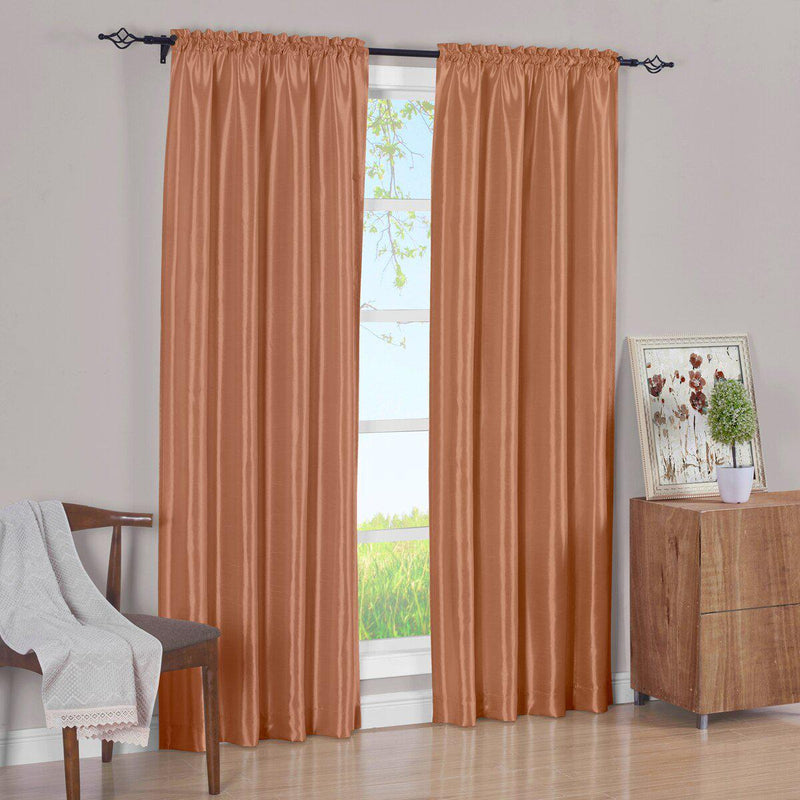 Pair Curtain Panels Soho Faux Silk (Set of 2)-Royal Tradition-63 Inch Long-Rust-Egyptian Linens
