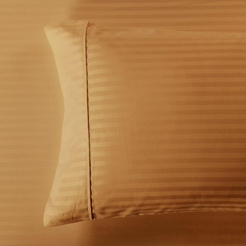 Damask Stripe 600 Thread Count Pillowcases (Pair)-Royal Tradition-Standard Pillowcases Pair-Bronze-Egyptian Linens