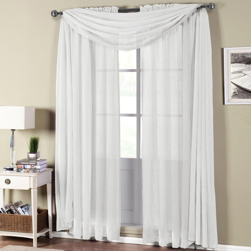 "Abri Rod Pocket Crushed Sheer Curtain Panel (Single)-Royal Tradition-50 x 96"" Panel-White-Egyptian Linens"