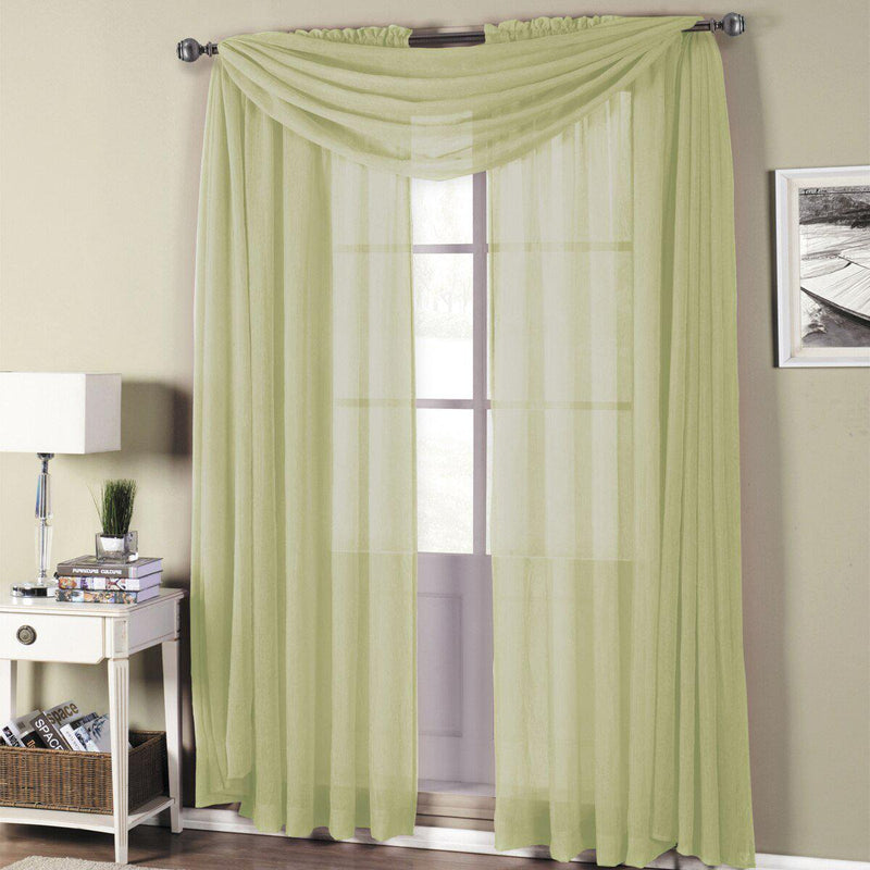 "Abri Rod Pocket Crushed Sheer Curtain Panel (Single)-Royal Tradition-50 x 84"" Panel-Spring Green-Egyptian Linens"