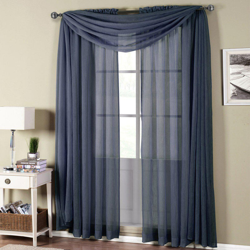 "Abri Rod Pocket Crushed Sheer Curtain Panel (Single)-Royal Tradition-50 x 120"" Panel-Navy-Egyptian Linens"