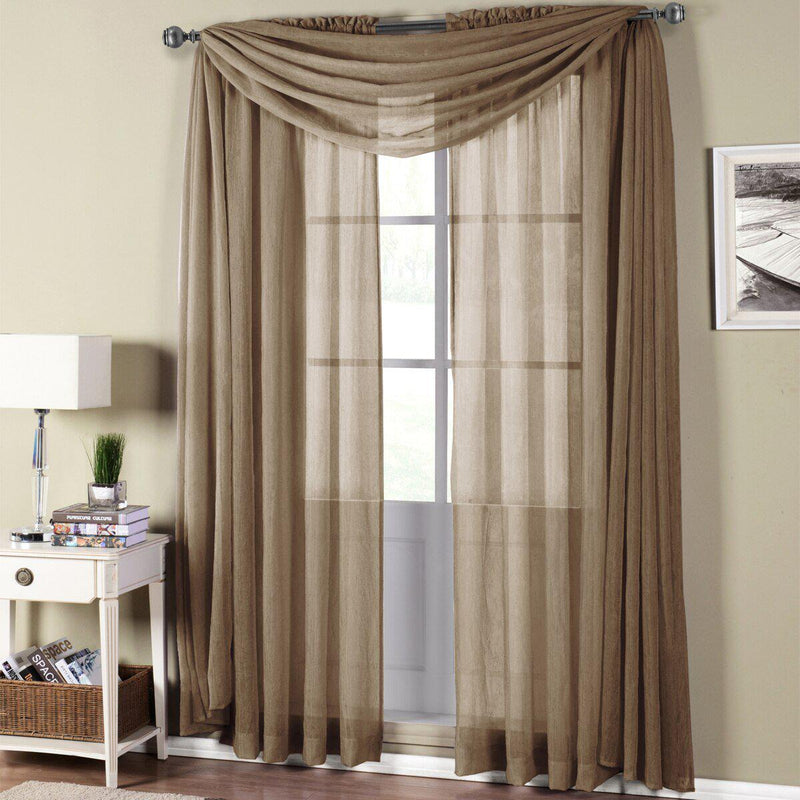"Abri Rod Pocket Crushed Sheer Curtain Panel (Single)-Royal Tradition-50 x 108"" Panel-Mocha-Egyptian Linens"