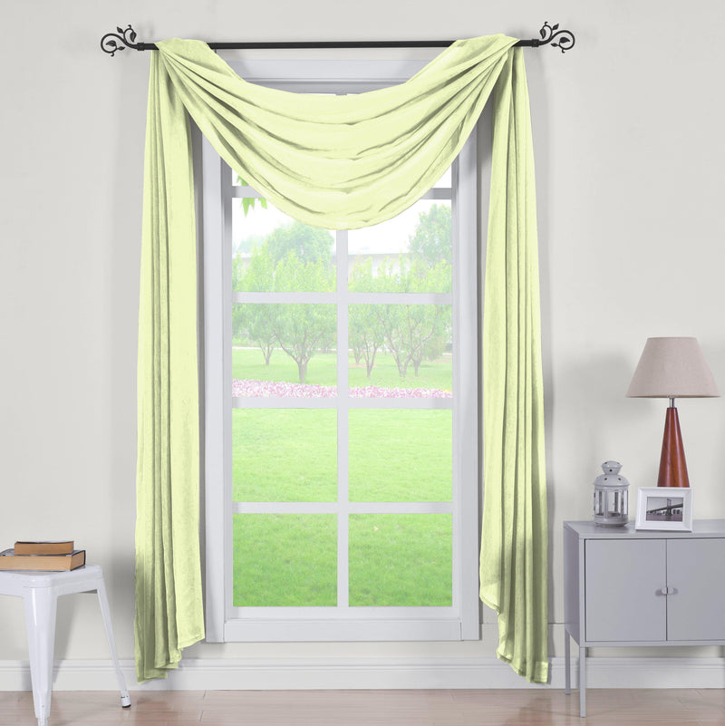 "Abri Rod Pocket Crushed Sheer Curtain Panel (Single)-Royal Tradition-50 x 216"" Scarf-Spring Green-Egyptian Linens"