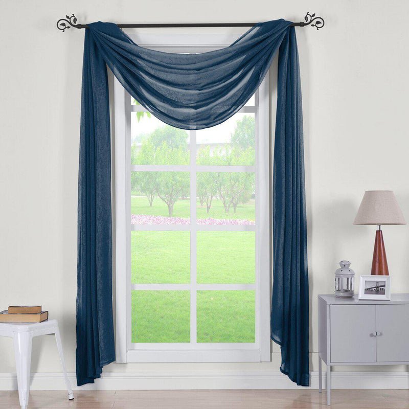 "Abri Rod Pocket Crushed Sheer Curtain Panel (Single)-Royal Tradition-50 x 216"" Scarf-Navy-Egyptian Linens"