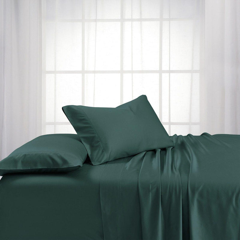 Top Split Flex King Sheet Set - Bamboo Cotton (Hybrid)-Royal Tradition-TEAL-Egyptian Linens