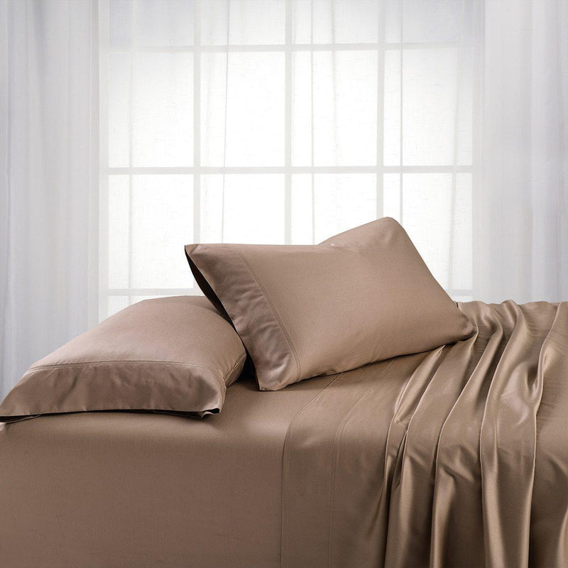 Top Split Flex King Sheet Set - Bamboo Cotton (Hybrid)-Royal Tradition-TAUPE-Egyptian Linens