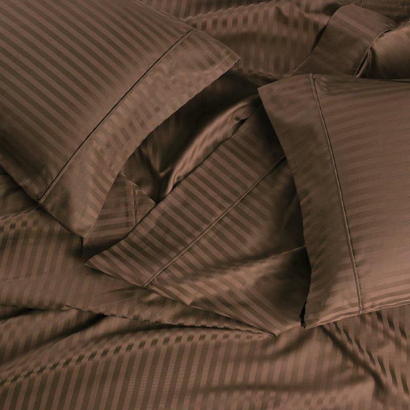 Easy Care Sheet Set - Striped 650 Thread Count-Royal Tradition-Twin XL-Taupe-Egyptian Linens
