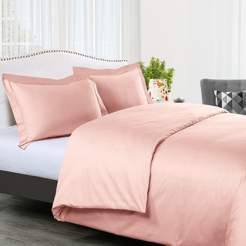 Duvet Cover Set Solid 300 Thread count-Royal Tradition-King/Calking-Blush-Egyptian Linens