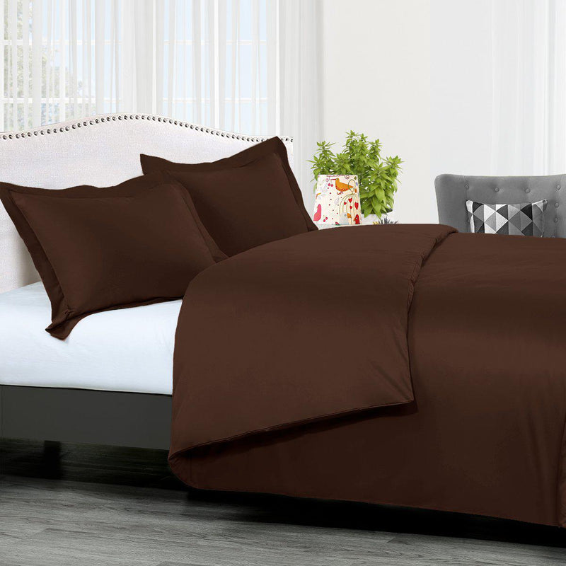 Duvet Cover Set Solid 300 Thread count-Royal Tradition-King/Calking-Chocolate-Egyptian Linens