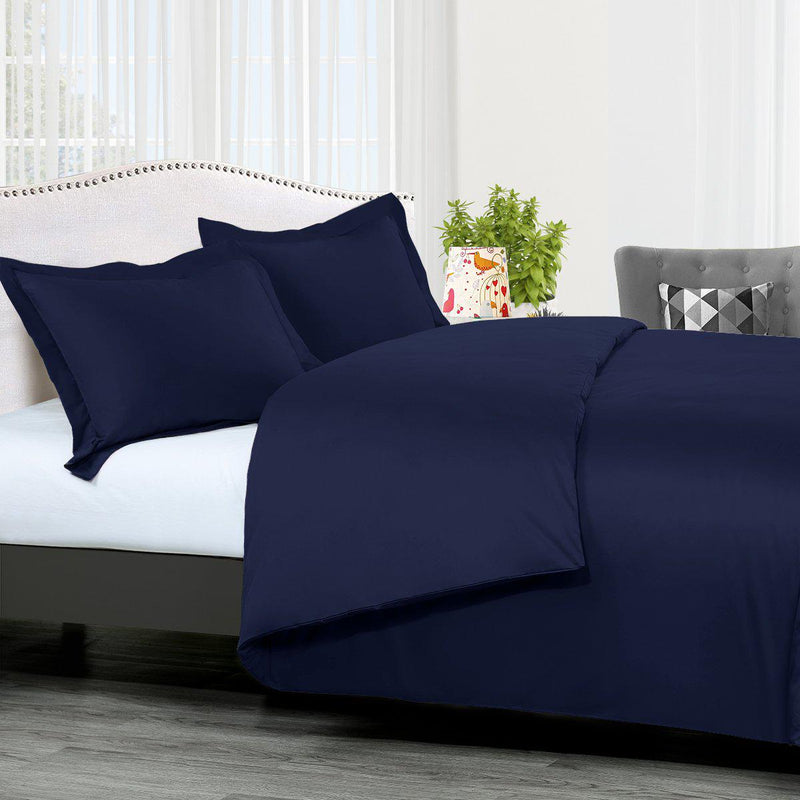 Duvet Cover Set Solid 300 Thread count-Royal Tradition-King/Calking-Navy-Egyptian Linens
