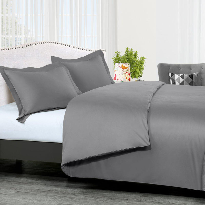 Duvet Cover Set Solid 300 Thread count-Royal Tradition-Twin/Twin XL-Gray-Egyptian Linens