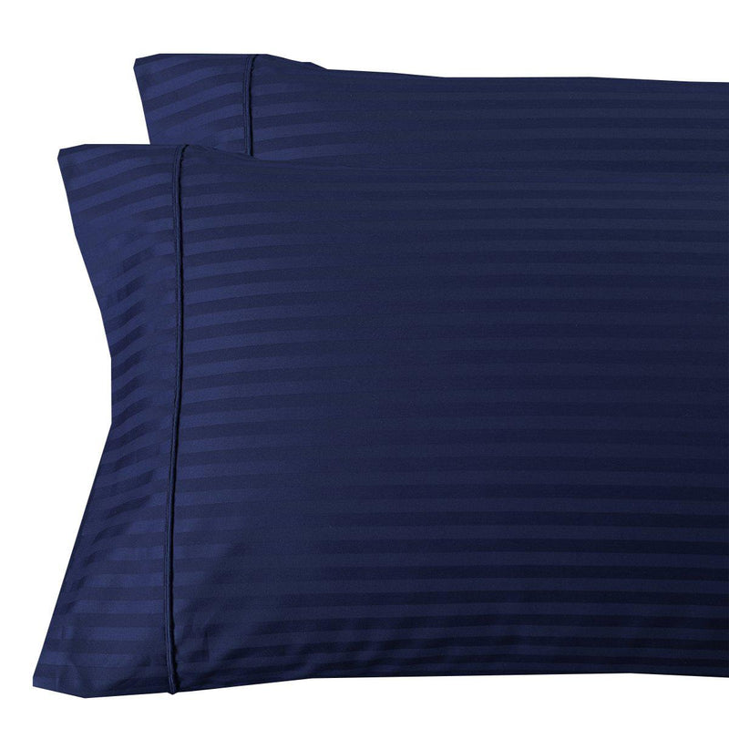 Damask Stripe 300 Thread Count Pillowcases-Royal Tradition-King Pillowcases Pair-Navy-Egyptian Linens