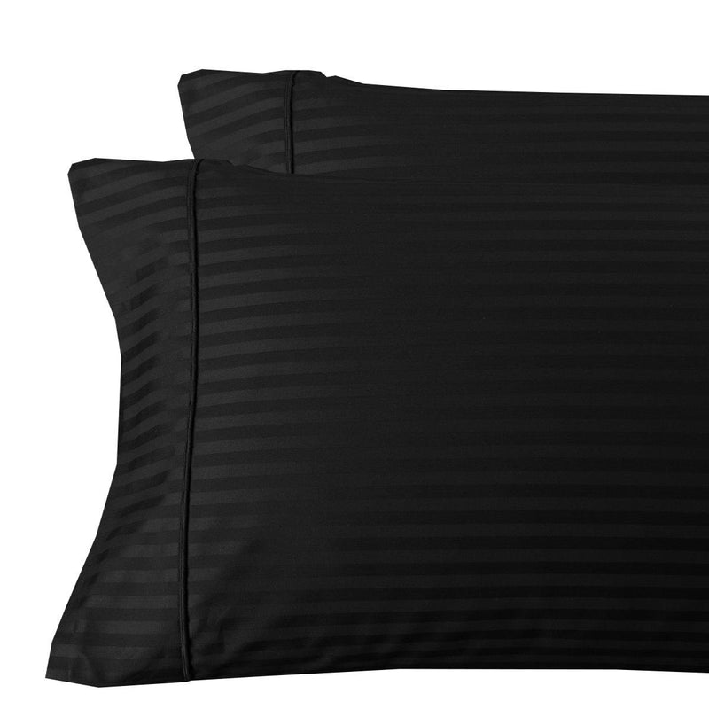 Damask Stripe 300 Thread Count Pillowcases-Royal Tradition-King Pillowcases Pair-Black-Egyptian Linens