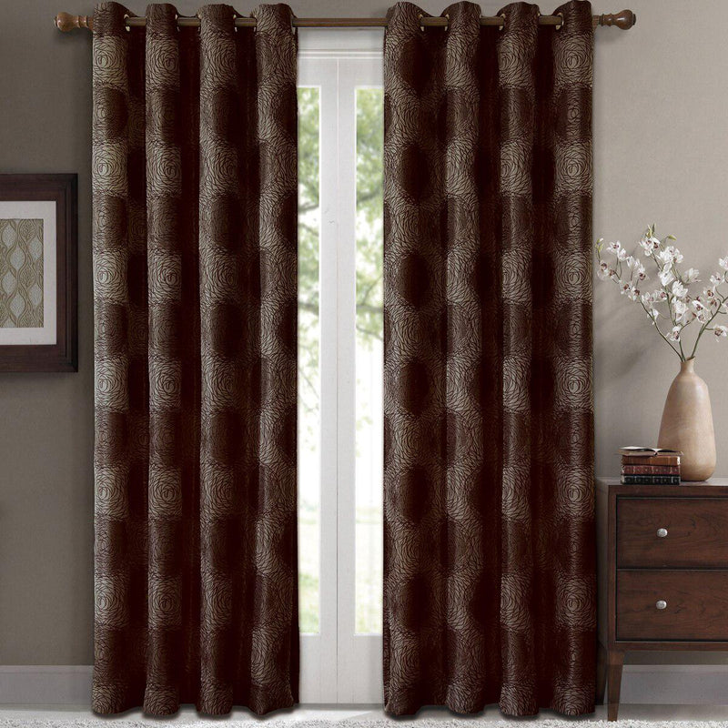 "Lexington Circle Swirl Jacquard Curtains Top Grommet Panels (Set of 2)-Royal Tradition-104 x 63"" Pair-Chocolate-Egyptian Linens"