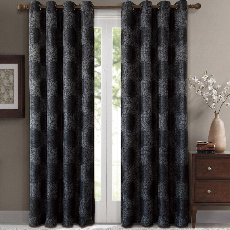 "Lexington Circle Swirl Jacquard Curtains Top Grommet Panels (Set of 2)-Royal Tradition-104 x 84"" Pair-Black-Egyptian Linens"