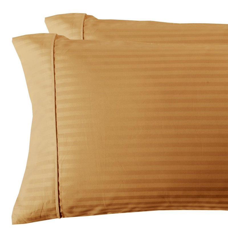 Damask Stripe 300 Thread Count Pillowcases-Royal Tradition-Standard Pillowcases Pair-Bronze-Egyptian Linens