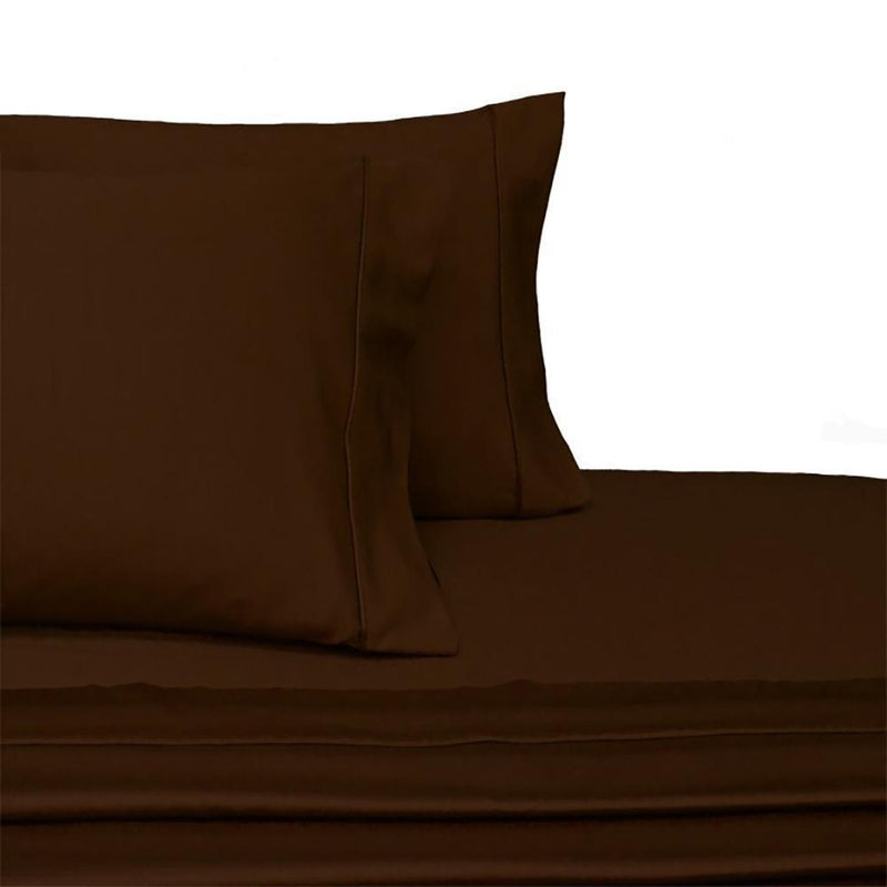 Split Top King Sheets 300 Thread Count 100% Cotton (Half Split Fitted)-Royal Tradition-Chocolate-Egyptian Linens